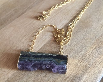Gold filled long necklace with druzy pendant