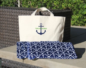 Anchor Beach Towel & Tote Set and Monogrammed with new last name, Mrs. and Mr. Anchor Beach Towel Set, engagement gift, anchor gift set