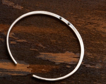 Birsa Bracelet in Sterling Silver, Minimal Cuff Design, Textured and Embossed