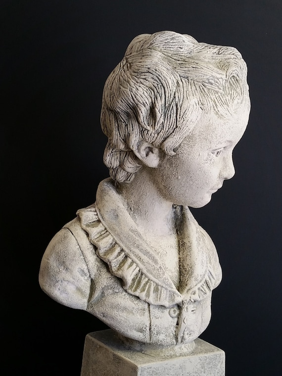 """Large Vintage Chalkware Bust Statue, Custom Hand Painted, Aged Stone Concrete Finish-""""Ships International"""" Email For Rates"""