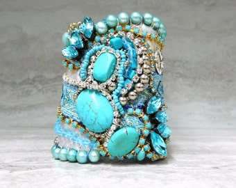 Turquoise & Rhinestone Fabric Cuff Bracelet- One of a Kind Baroque Victorian Inspired Beaded Cuff