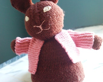 Hand knit brown bunny rabbit.