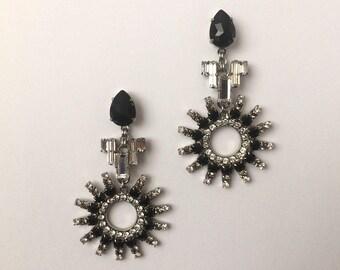 Art Deco inspired Swarovski Crystal Earrings, Large Swarovski Black Jet Earrings, Crystal jewellery