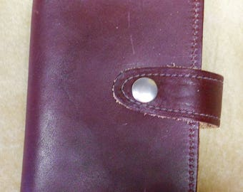 Burgundy Leather Regular Check Book Cover with Snap Closure Made in GA USA