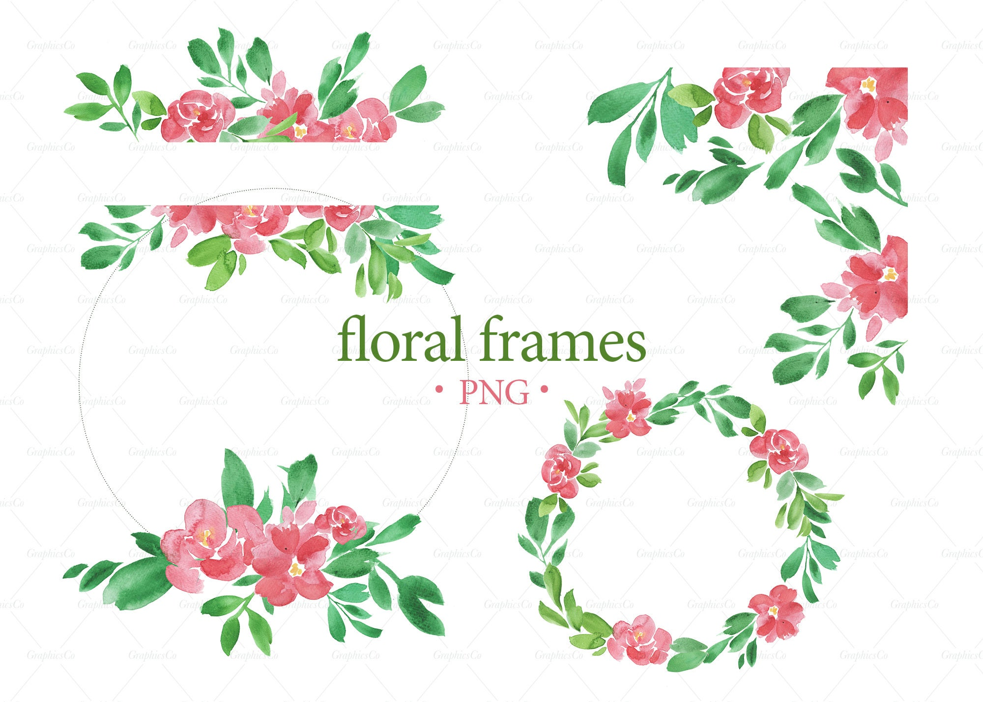 4 CLIPART floral FRAMES. Download Watercolor frames. Banner ...