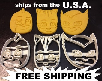 PJ Masks Faces Cookie Cutters. Cat Boy, Gekko, and Owlette. Throw a PJ Masks Themed Birthday Party with your favorite PJ friends! P J Mask