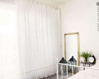 Stonewashed linen off white curtain with ruffles- romantic window curtain with ties- curtain panel pole pocket- custom size curtain