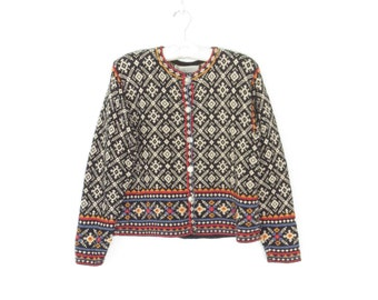 vintage cardigan sweater * cropped cardigan * cotton sweater * boxy cardigan * medium