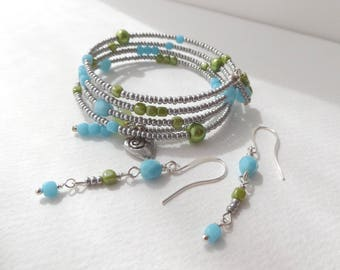 Earrings and/or Bracelet - Grey and Turquoise Blue, Chartreuse Green, Memory Wire Bangle, plus earrings, Adjustable