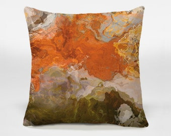 Decorative pillow cover with abstract art, 16x16 and 18x18 autumn colors of orange and brown accent pillow, throw pillow, Come the Fall