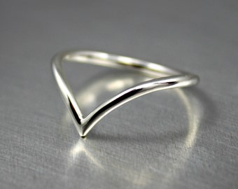 Sterling Silver Chevron Ring, Silver Chevron Arrow Ring