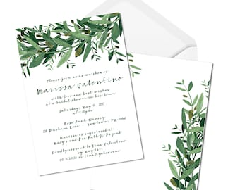 Whimsical Bridal Shower Invitation - Greenery - Olive Leafs