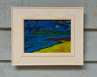 "Original Art Landscape Acrylic Painting 10""x8"" Naive Painting in Acrylic Original Abstract Landscape Expressionism Canvas Board Artwork Art"