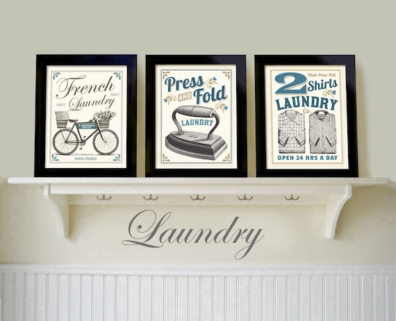 Laundry room art decor vintage black white old fashioned print