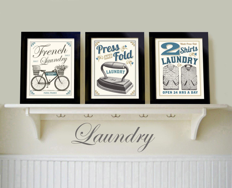 Laundry Framed Art Laundry Room Art Decor Vintage Black White Old Fashioned Print