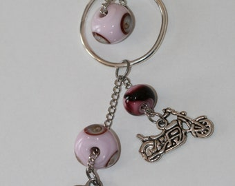 Silver motorcycle necklace with pink glass beads and My Heart belongs to a Biker charm