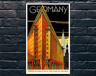 Germany Vintage Poster, Germany Travel Print, Tourism Wall Art, Vintage Travel Poster Print, Sticker and Canvas Print