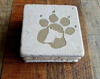 Chien de race Art - chien Race Coasters - Coasters pierre naturelle - animaux Art - chien amoureux cadeaux - Art de chien - Paw Print Art