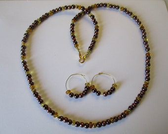 Rich browns & gold beaded necklace with matching pierced earrings - # 478
