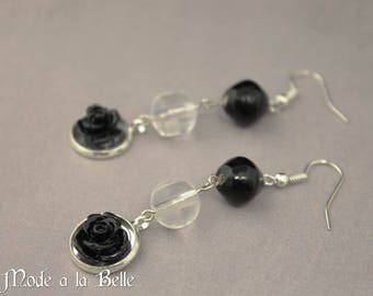 Black Rose, clear beads silver dangle earrings