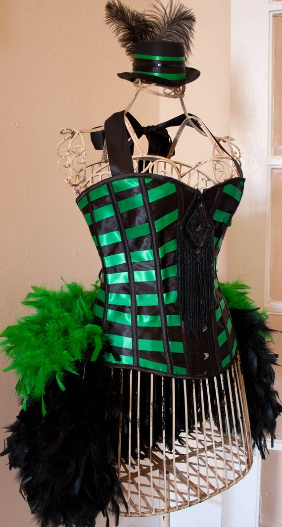 MICHELLE - Poison Ivy green black Burlesque Costume corset SEXY Holiday Halloween party dress