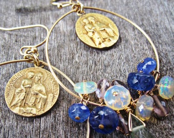 Saint Mary and Jesus Christ, Sacred Heart, Our Lady of Carmel, Antique Tricard Medal Earrings, Tanzanite, Opal, Spinel and Green Quartz Drop