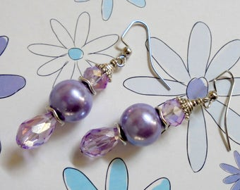 Lavender Pearl and Crystal Earrings (3457)