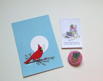 Red Cardinal Postcard - Animal Collection
