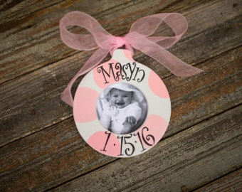 Personalized Baby Girl Picture Frame Christmas Ornament, Soft Pink Bouncy Dots, Baby Gift, New Baby, Newborn Gift, Baby Girl, Monogram,Frame
