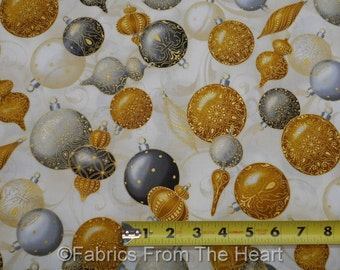 Winter's Graundeur Christmas Decor Gold Gray Balls BY YARDS RK Cotton Fabric