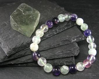 Fluorite Genuine Bracelet ~ 7 Inches  ~ 8mm Round Beads