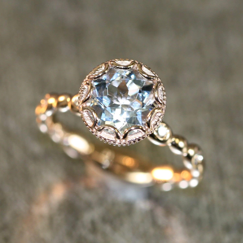 14k rose gold floral aquamarine engagement ring in pebble. Black Bedroom Furniture Sets. Home Design Ideas