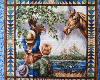 Fabric cotton pillows one sticker for kids and horse I