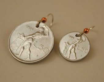 Mismatched Italy Coin Earrings Vulcan