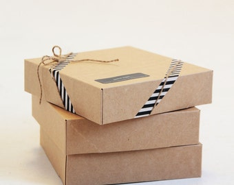 6 1/2 x 6 1/2 x 1 5/8 inch Kraft Gift Boxes lot of 10