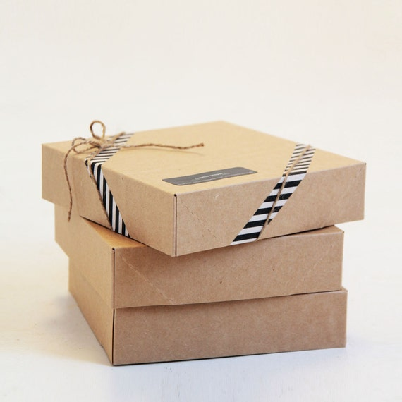 6 1/2 x 6 1/2 x 1 5/8 inch Kraft Gift Boxes lot of 16  | Square print presentation box for photographers, mini cake box, baby clothes box