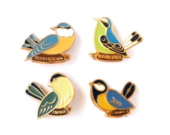 Birds, set of 4 vintage soviet children's pin badges, made in USSR, 1970s