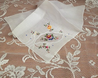 Embroidered Floral Handkerchief, Cross Stitch Hanky, White Embroidered Hanky, Rose Embroidered Crewel