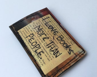 Thin wallet, business card holder, slim wallet, fabric wallet, painted wallet, credit card holder, book lover wallet