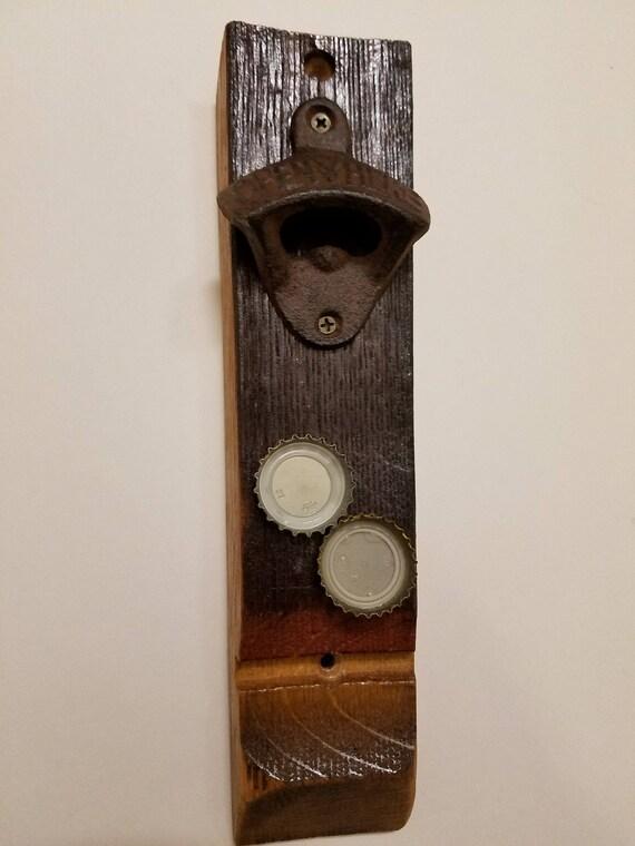 French Oak Wine Barrel Stave Beer Bottle Opener with Magnetic Bottlecap Catcher