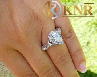 14k solid white gold pear shape forever one moissanite and natural round cut diamonds engagement ring art deco antique style halo 2.70ctw