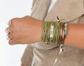 Leather Choker |  Boho Jewelry Necklace  | Leather Bracelet Wrap  | Personalized Color Suede Bracelet  | Necklace Boho Choker Bohemian Gift