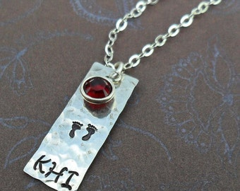 New Baby New Mommy Initial Necklace with Birthstone Baby Feet- Sterling Silver Custom Initial - S217