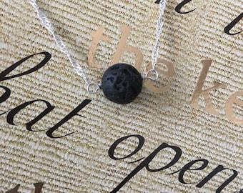 Aromatherapy Black Lava Stone Diffuser Necklace - Sterling Silver