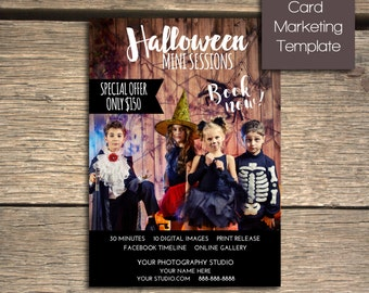 Halloween Mini Session - 5x7 Photoshop Marketing Template - INSTANT DOWNLOAD
