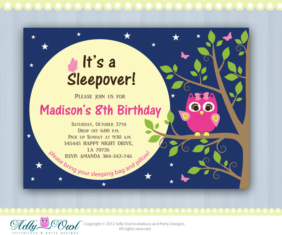 Personalized Girl Night Owl Sleepover Birthday Party Printable