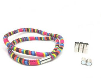 5 sets of silver cord 6 - 6.5 mm magnetic clasps