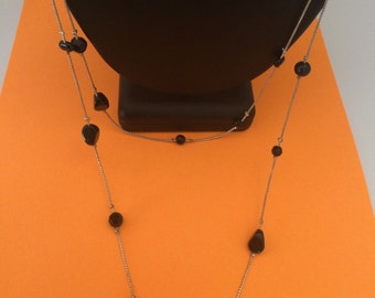 Super Long Layerable  Black Varigated Bead and Silver Tone Chain Necklace