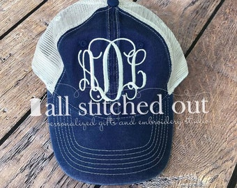 Monogrammed Comfort Color Trucker Hat - Personalized Cap - Monogrammed Baseball hat - Personalized Hat - Monogram hat - Pigment Dyed Hat