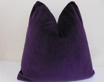Purple Velvet Pillow Cover -Cotton Velvet - Robert Allen  - Decorative  Throw Pillow  - 20 x 20